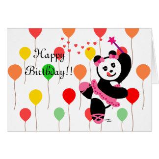 Kawaii Panda Ballet Dancer Recital Birthday Card