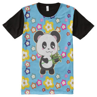 Kawaii Panda Bear Flower Power Tshirt blue
