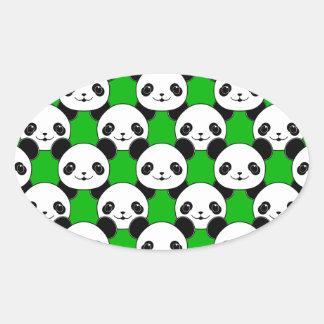 Kawaii Panda Bear Pattern Oval Sticker