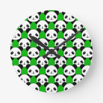 Kawaii Panda Bear Pattern Round Clock