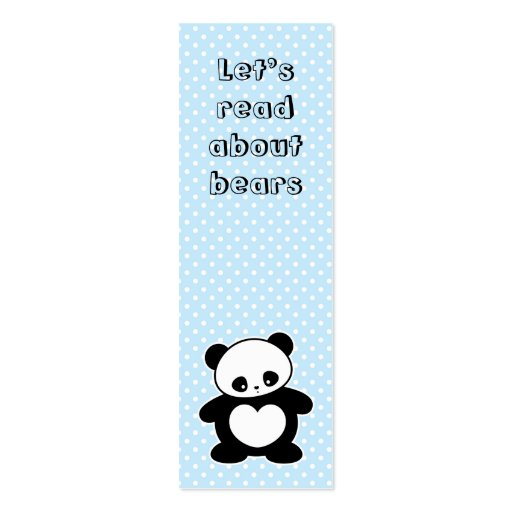 Kawaii panda bookmark Double-Sided mini business cards (Pack of 20)