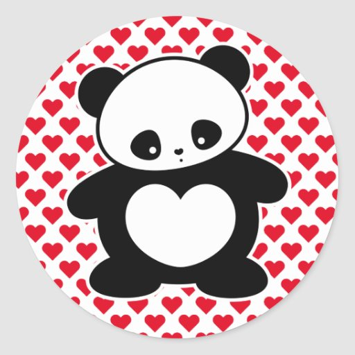 Kawaii panda classic round sticker