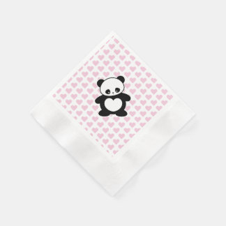 Kawaii panda coined cocktail napkin