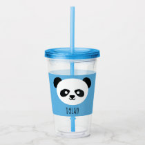 Kawaii Panda Cute Kids Blue Personalized Acrylic Tumbler