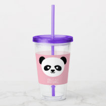 Kawaii Panda Cute Kids Pink Personalized Acrylic Tumbler