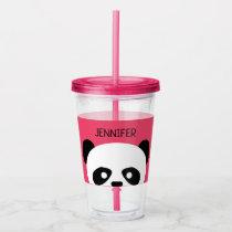 Kawaii Panda Cute Kids Pink Personalized Acrylic Tumbler