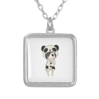 Kawaii Panda Girl Silver Plated Necklace