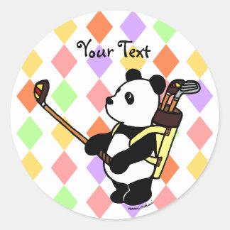 Kawaii Panda Golfer Argyle Classic Round Sticker