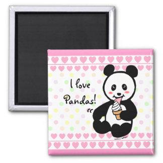 Kawaii Panda Ice Cream Cartoon Hearts 2 Inch Square Magnet