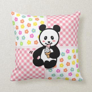 Kawaii Panda Ice Cream Cartoon Patchwork Throw Pillow