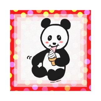 Kawaii Panda Ice Cream Cartoon Polka Dot Canvas Print
