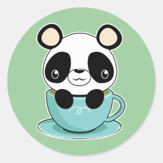 Kawaii Panda in a Teacup Classic Round Sticker
