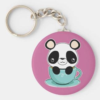 Kawaii Panda in a Teacup Keychain