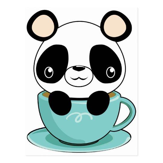 Kawaii Panda in a Teacup Postcard