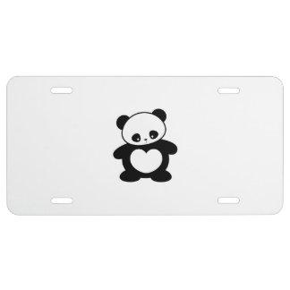 Kawaii panda license plate