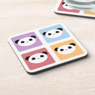 Kawaii Panda Multicolored Pop Squares Pattern Beverage Coaster