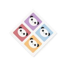 Kawaii Panda Multicolored Pop Squares Pattern Paper Napkin