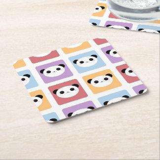 Kawaii Panda Multicolored Pop Squares Pattern Square Paper Coaster