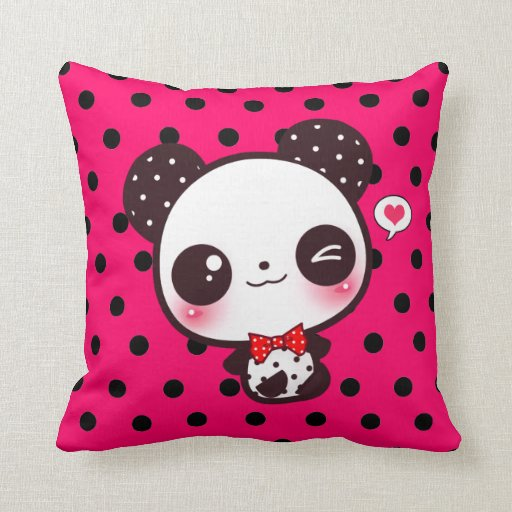 Kawaii panda on black polka dots pillow