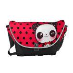 Kawaii panda on black red polka dots commuter bag