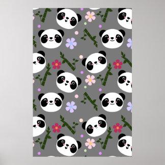 Kawaii Panda on Gray Poster