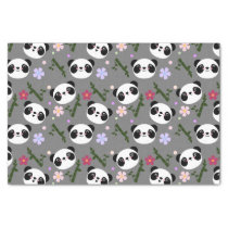 Kawaii Panda on Gray Tissue Paper