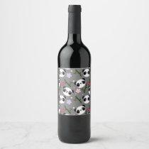 Kawaii Panda on Gray Wine Label