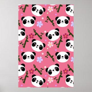 Kawaii Panda on Pink Poster