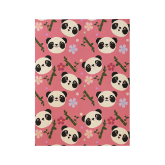 Kawaii Panda on Pink Wood Poster