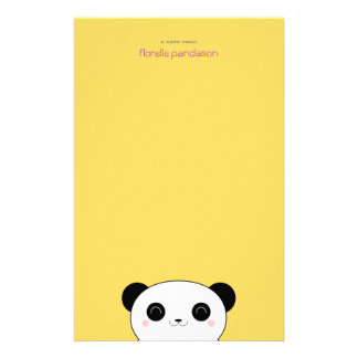 Kawaii Panda on Yellow Note Paper