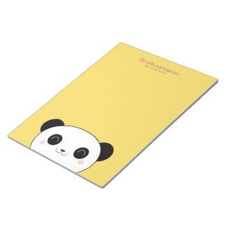 Kawaii Panda on Yellow Notepad