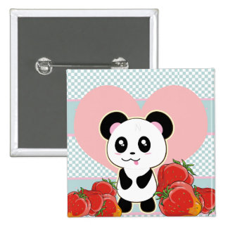 Kawaii Panda strawberries cute Pinback Button