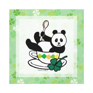 Kawaii Panda Tea Break Clovers Canvas Print