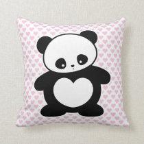 Kawaii panda throw pillow