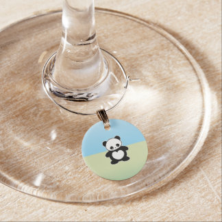 Kawaii panda wine glass charm