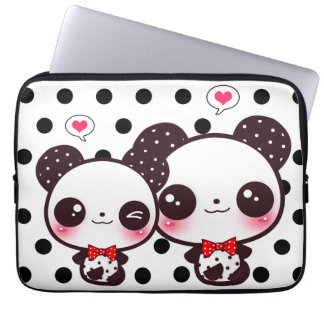 Kawaii pandas on black polka dots laptop sleeves