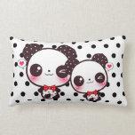 Kawaii pandas on black polka dots pillow