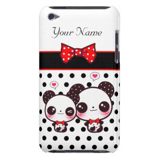 Kawaii pandas with red bow on polka dots iPod touch cases