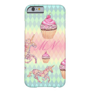 Kawaii Pastel Unicorns and Cupcakes Monogram cute Barely There iPhone 6 Case