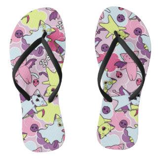 Kawaii pattern of Halloween cats Flip Flops