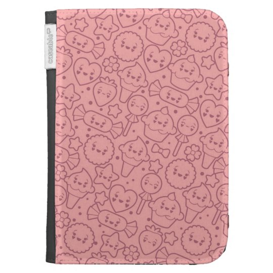 Kawaii pattern with cute cakes cases for the kindle