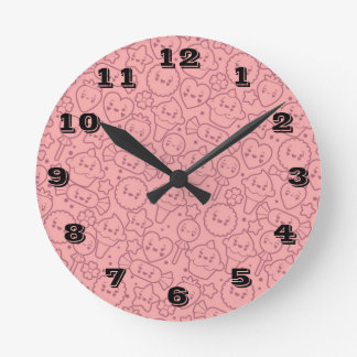 Kawaii pattern with cute cakes round clock