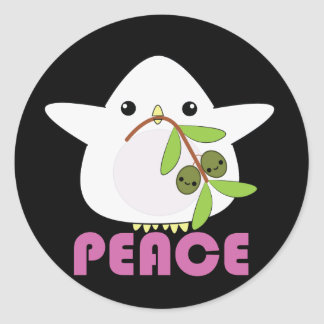 Kawaii Peace Dove with Olive Branch stickers
