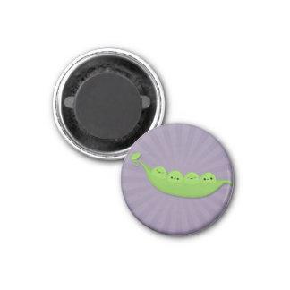 Kawaii Peas in a Pod on Purple Starburst Magnet