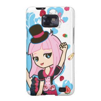 Kawaii Penélope el androide gótico de Lolita Chibi Samsung Galaxy S2 Carcasas