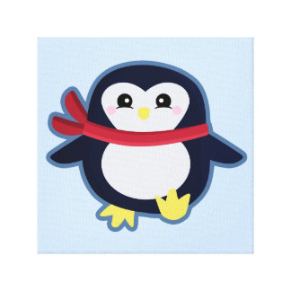 Kawaii penguin canvas print