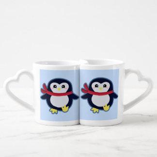 Kawaii penguin coffee mug set