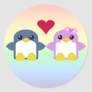 kawaii penguin love sweety tweety classic round sticker