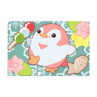 Kawaii Penguins Canvas Print