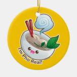 Kawaii Pho Real Double-Sided Ceramic Round Christmas Ornament